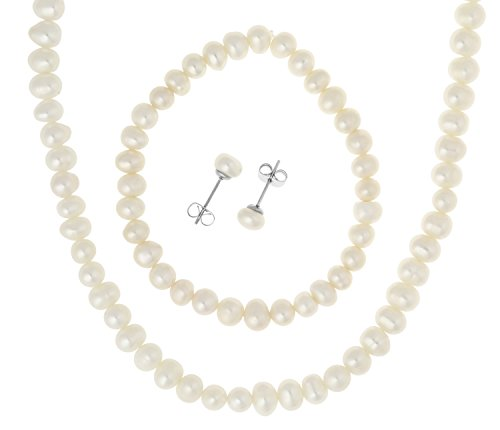 Stainless Steel Freshwater Cultured Pearl Necklace, Bracelet, 6.5mm Earrings Jewelry Set (Freshwater Cultured Pearl Necklace And Earring Set)