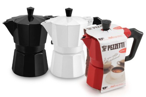 Pezzetti Stove-Top Espresso Coffee Maker Moka Pot - 3,6 Cup - Black/White/Red (6 Cup, Red) by Pezzetti