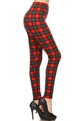 - S646-OS British Plaid Print Fashion Leggings, One Size