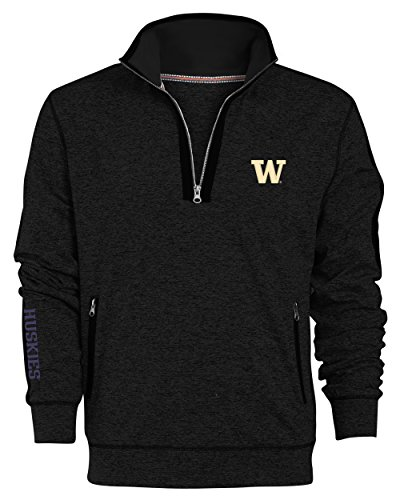 - NCAA Washington Huskies Men's Premium Quarter Zip Pullover Hoodie, Small, Black