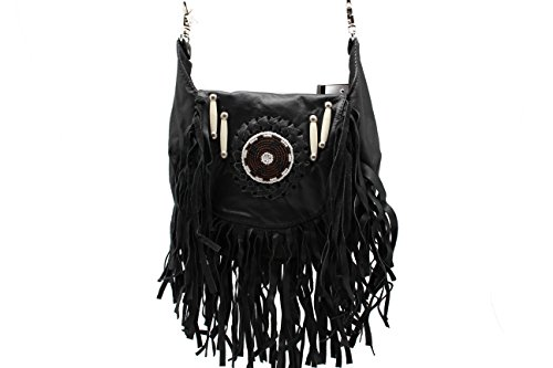 Black Fringe Loop Hip Pouch Red Indians Genuine Leather Boho Cross Body Hip Fanny Bag by Juzar Tapal Collection (Image #5)
