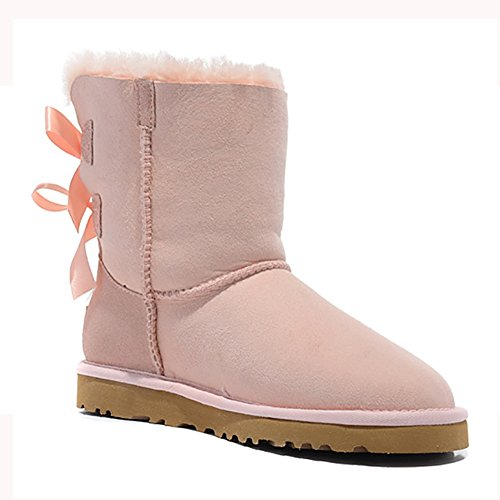 MERUMOTE Womens Bow Tie Leather Waterproof Shoes Non-slip Winter Snow Boots Pink hPtHik