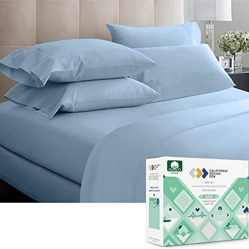 600 Thread Count Best Bed Sheets 100% Cotton Sheets Set - Extra Long-Staple Cotton Sheet for Bed 4 Piece Set with Deep Pocket (Blue, Queen Sheet Set)