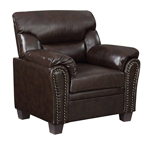 Furniture World Jefferson Armchair, Chocolate Leather Look