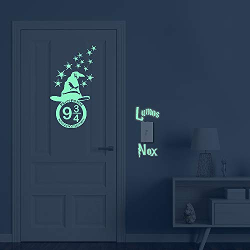 Glow in The Dark Stars Peel and Wall Decals - HP Gifts Wall Stickers for Boys Girls Bedroom Home Door Window Wall Decor ()