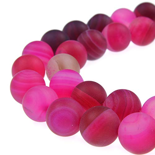 PLTbeads Gorgeous Fushia Stripe Agate Natural Gemstone Loose Beads 8mm Matte Round Approxi 15.5 inch DIY Bracelet Necklace for Jewelry Making
