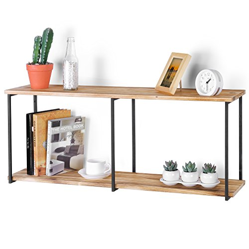 MyGift Wall-Mounted Urban Rustic 2-Tier Floating Shelf with Metal Brackets, 36-Inch