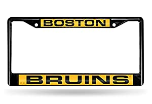 "Rico Industries NHL Boston Bruins Laser Cut Inlaid Standard Chrome License Plate Frame, Black, 6"" x 12.25"""