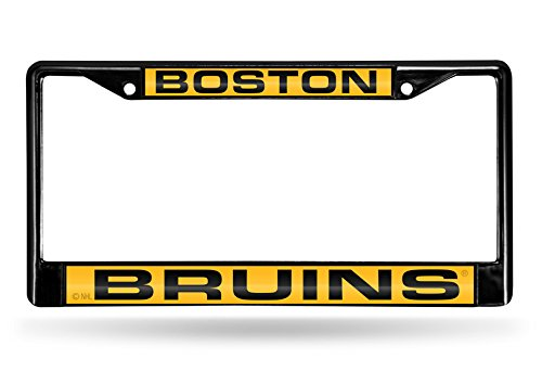 (Rico Industries NHL Boston Bruins Laser Cut Inlaid Standard Chrome License Plate Frame, Black, 6