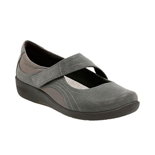 CLARKS Women's Sillian Bella Mary Jane Flat, Grey Synthetic, 8 M US