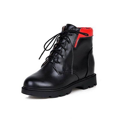 Heels Lace up Material AgooLar Assorted Women's Boots Low Kitten Black Soft Top Color qg4fOE