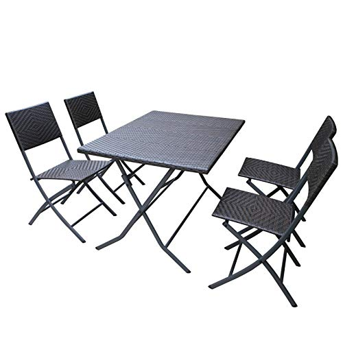 HL Patio Resin Rattan Steel Folding Bistro Set, Parma Style, All Weather Resistant Resin Wicker, 5 PCS/3PCS Set of Foldable Table and Chairs, Color Espresso Brown, 3-Year Warranty, No Assembly Needed (Umbrella With Folding Set Patio)