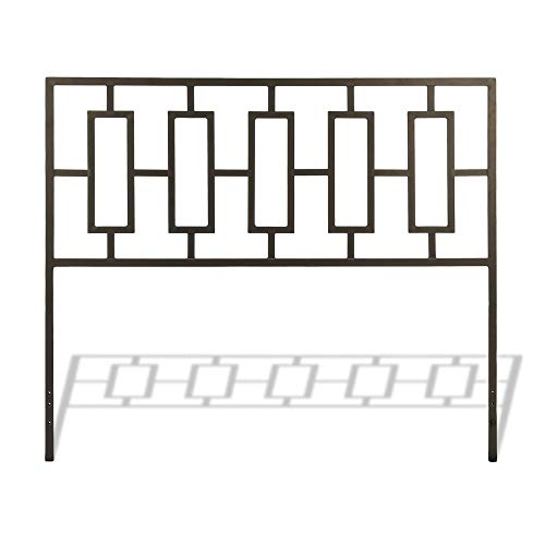 Leggett & Platt Miami Metal Headboard Panel with Geometric Designed Grill and Squared Tubing, Coffee Finish, Full