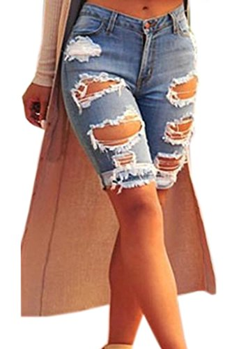Dokotoo Womens Casual Denim Destroyed Bermuda Shorts Jeans Large ()