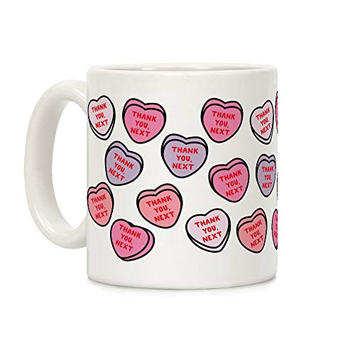 LookHUMAN Thank You Next Candy Hearts White 11 Ounce Ceramic Coffee Mug