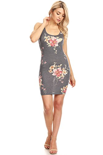 USA Bodycon Back Casual Sexy in Dress Racer Mini Made Hdr00021 Grey Women's Floral 1zXTx1