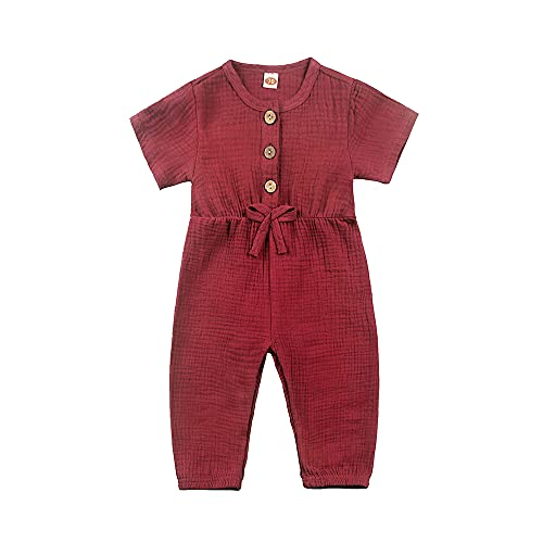 Infant Baby girls rompers 6-9 months 6-12 9-12 months brown red one-piece romper jumpsuits bow burgundy