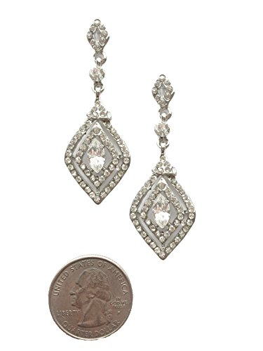 Art Deco Antique Vintage Flapper Style Marquise Center Rhinestone Wedding Bridal Prom Earrings