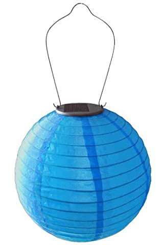 "Allsop Home and Garden Soji Original 10"" Round LED Outdoor Solar Lantern, Handmade with Weather-Resistant UV Rated Nylon, Stainless Steel Hardware, Auto sensor on/off, Chinese Style Globe Light, Blue - Allsop Led Solar Lantern"