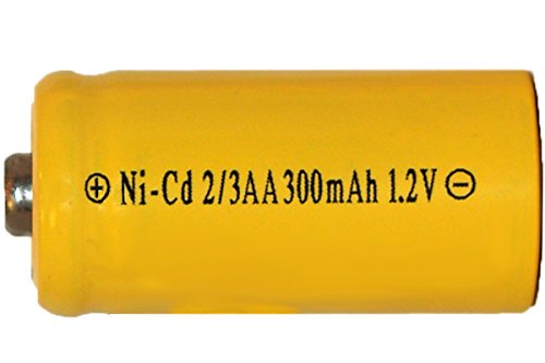 8 X 2/3 Aa 300 Mah Nicd Batteries - Button Top (For Solar Lights) by White Sleeve