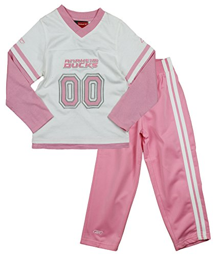 NHL Anaheim Ducks Little Girls 2-piece Sueded Jersey and Pants Set, White/ Pink