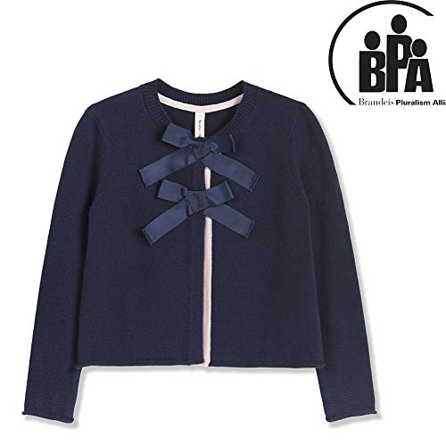 Benito & Benita Girls Cardigan Little Girl Cardigan Sweaters with Front Bows Long Sleeve Knitted Outwear Navy