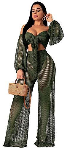 Speedle Women Fishnet Mesh See Through Bandeau Crop Top + Eyelet Long Wide Leg Pants 2 Piece Outfits Army Green XL ()