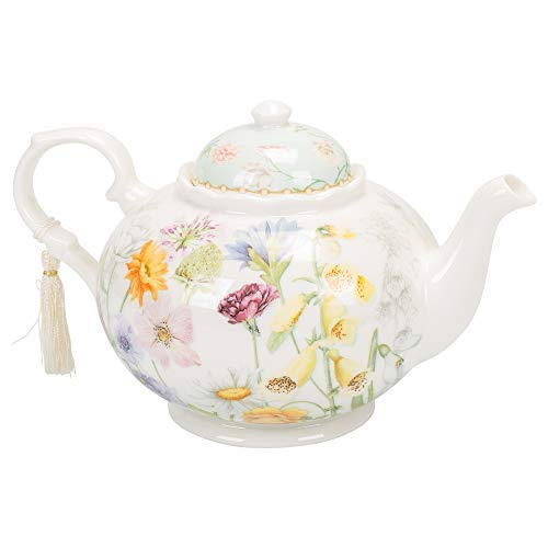 Delton Products Wildflower 9.5 inches x 5.6 inches Porcelain Tea Pot in Gift Box Serveware