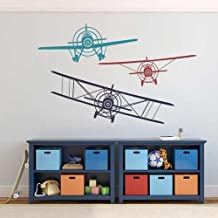 Children Boys Bedroom Decor Gift 3 Biplanes 3 Colors Vinyl Wall Decal Airplane Wall Sticker £¨Navy blue+Dark red+Teal,s£©