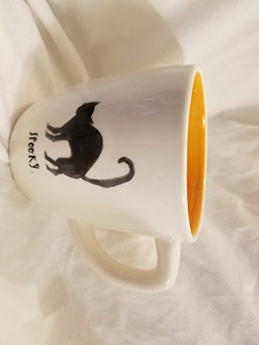 - Rae Dunn Magenta Ceramic Halloween Coffee Mug Black Cat Spooky. - Cream/Orange