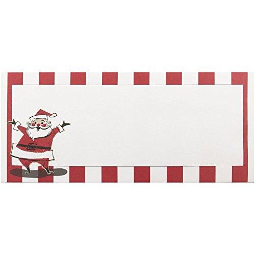 JAM Paper Christmas Envelopes - #10 (4 1/8 x 9 1/2) - Santa & Stripes Design - 25 Envelopes per Pack