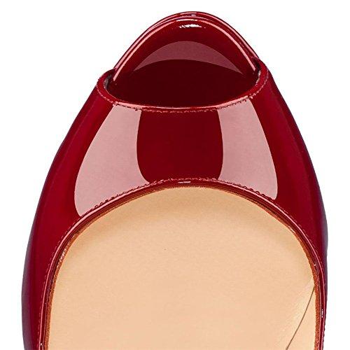 MERUMOTE - Zapatos de tacón de aguja mujer Rojo - granate