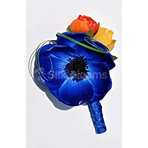 Colourful Buttonhole with Vibrant Anemones and Roses 5