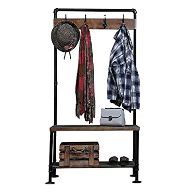 WGX Design For You Industrial Coat Rack Shoe Bench, Hall Tree Entryway Storage Shelf, Solid Wood with Pipe Frame - 【Retro Style】:Industrial style solid wood and pipe 【Multi-functional】:Beautiful and practical .You can use it wherever you want. 【Size】:Total height:63in*31.5in*12.5in - hall-trees, entryway-furniture-decor, entryway-laundry-room - 41bHC2xmD4L. SS400  -