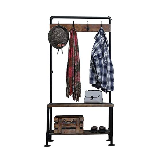 WGX Design For You Industrial Coat Rack Shoe Bench, Hall Tree Entryway Storage Shelf, Solid Wood with Pipe Frame - 【Retro Style】:Industrial style solid wood and pipe 【Multi-functional】:Beautiful and practical .You can use it wherever you want. 【Size】:Total height:63in*31.5in*12.5in - hall-trees, entryway-furniture-decor, entryway-laundry-room - 41bHC2xmD4L. SS570  -
