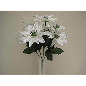 JumpingLight 4 Bushes Cream Xmas Poinsettia 7 Artificial Silk Flowers 12'' Bouquet 209CR Artificial Flowers Wedding Party Centerpieces Arrangements Bouquets Supplies 98