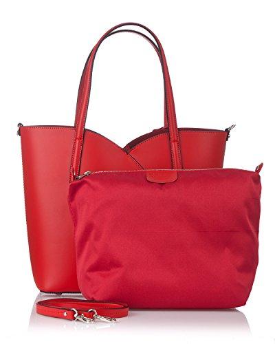 Laura Moretti - Bolso de piel auténtica con placa metálica Rojo