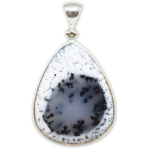 Dendritic Agate Pendant Necklace by Stones -