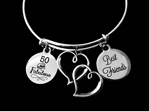 s and Fifty 50th Birthday Jewelry Adjustable Charm Bracelet Silver Double Heart Expandable Bangle One Size Fits All Gift ()