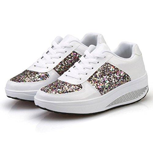 ZODOF Las Mujeres de Las señoras cuñas Zapatillas de Deporte Zapatos de Lentejuelas Shake Zapatos de Deporte de Las niñas de Moda: Amazon.es: Ropa y ...