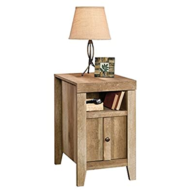 Sauder Dakota Pass Side Table, Craftsman Oak finish - Open shelf for storage for home Décor, books, and more Reversible door opens left or right- you decide what suits you best Top molding reveals slide-out shelf with metal slides, a convenient place to set remotes or even dinner - living-room-furniture, living-room, end-tables - 41bHCUJdflL. SS400  -