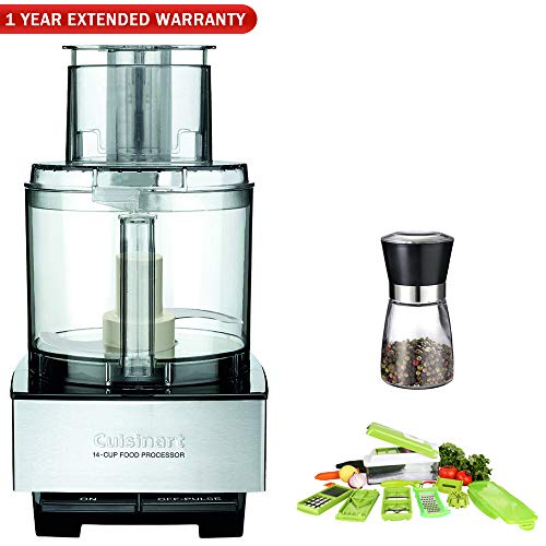 Cuisinart DFP-14BCNY 14-Cup Food Processor, Brushed Stainless Steel w|Chop Wizard Bundle Includes, Chop Wizard 10-Pc. Fruit & Vegetable Chopper, Spice Mill and 1 Year Extended Warranty