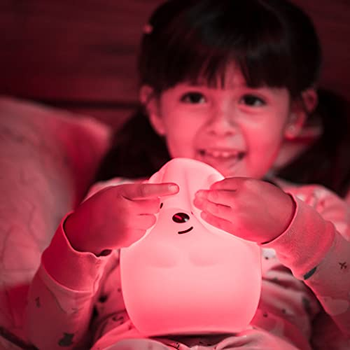 LumiPet Bear Jumbo Kids Night Light, Cute Nursery Light for Baby, Toddler, Silicone LED Lamp, Remote Operated, USB Rechargeable Battery, 9 Available Colors, Timer Auto Shutoff