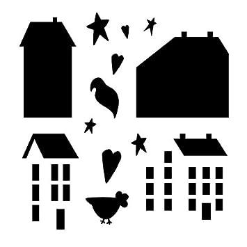 Amazon Com Primitive Houses Stencil By Studior12 Country