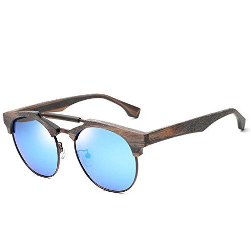 Un té Gafas doble Gafas sol de Película de unisex sol polarizadas tamaño estilo montura azul YINGM y sol grande de con de Pieza con madera montura de Gafas Snwadgxq7