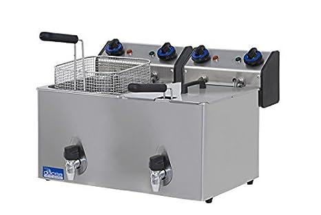 Freidora eléctrica de banco Docsa FE102R con válvula de desagüe 2 senos con tapa acero inoxidable: Amazon.es: Hogar