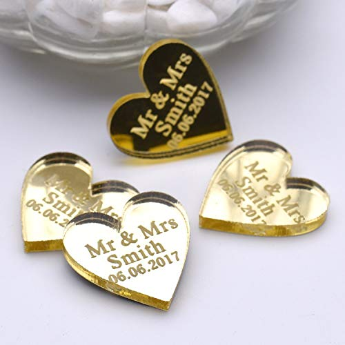 Miao Express 100 Pieces Personalized Engraved Baby Baptism Hangs Love Heart Wedding Table Decoration Favors Customized Tags,Gold Style,30mm ()