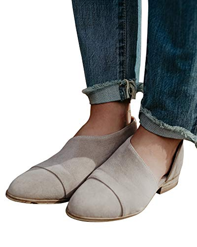 FISACE Womens Casual Slip-On Loafer Pointed Toe Cut Out Slip on Office Casual Dressy Ankle Boot (7 M US, Grey)