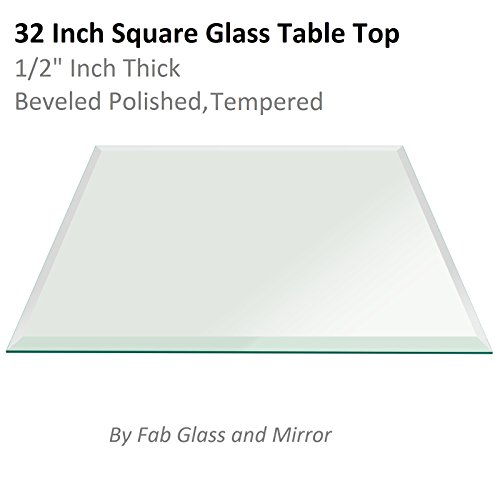 "Fab Glass and Mirror 32"" Square 1/2"" Inch Thick Tempered Beveled Edge Polish Radius Corrners Glass Table Top, Clear"