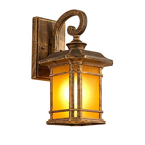 DLINMEI Industrial Outdoor Wall Light Style Aged Pewter Brushed Vintage Wall Lamp Metal Wall Sconces 1 Light Outdoor Wall Lamps Hallway Wall Sconce (Color : Bronze, Size : Small)